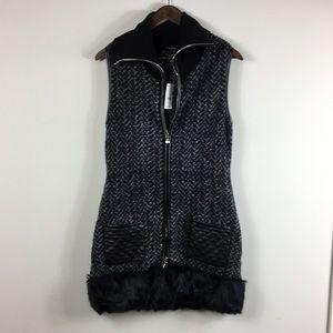 White House Black Market Vest Faux Fur Trim Small